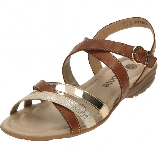 Remonte Flat Strappy Gladiator Tan Leather Sandals R3631-22