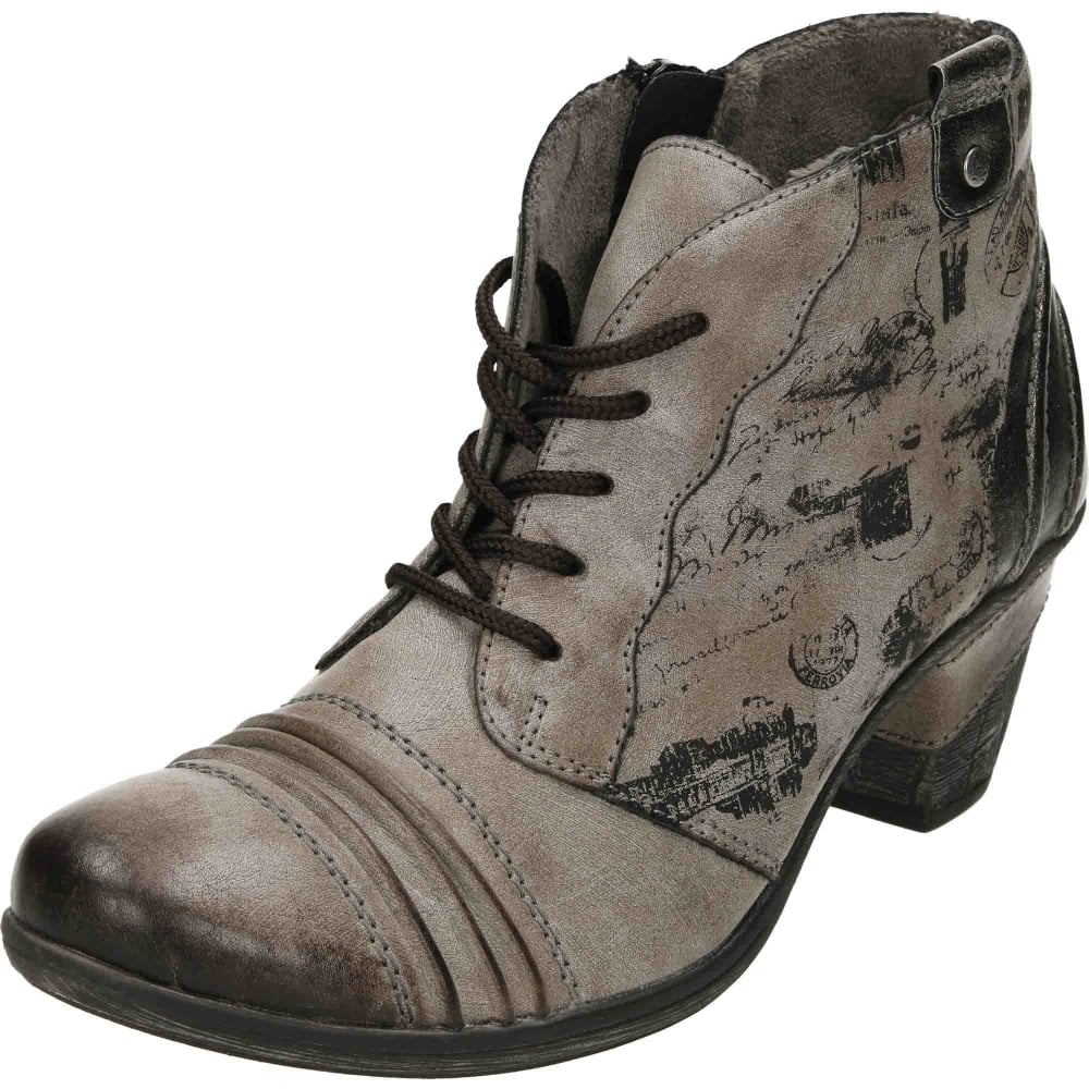 b7bd4ee71 Remonte Lace Up Zip Heeled Cushioned Metallic Ankle Boots D8771 ...