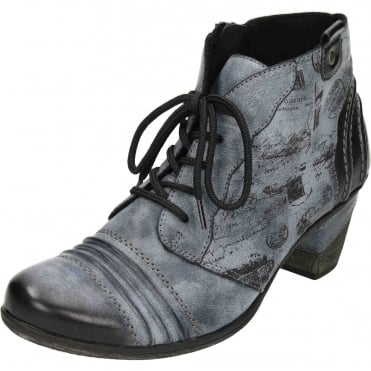Lace Up Zip Mid Heel Cushioned Metallic Combination Ankle Boots D8771
