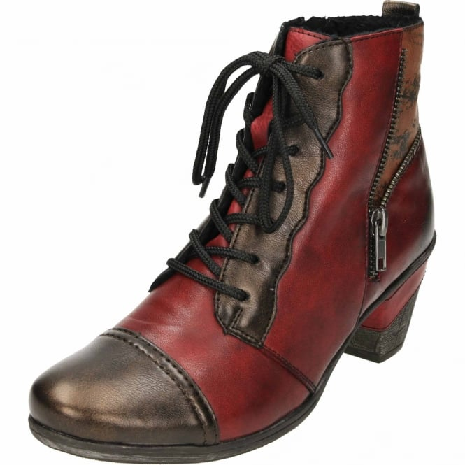 Remonte Leather Multi Coloured Metallic Ankle Boots Mid Heel Lace Up Zip Cushioned D8782