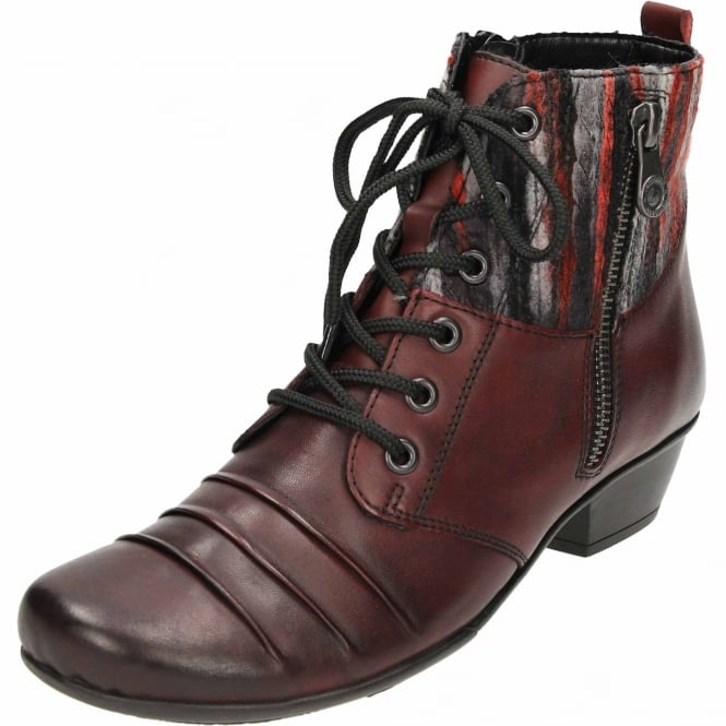 Remonte Leather Red Combination Ankle Heeled Boots Lace Up D7390