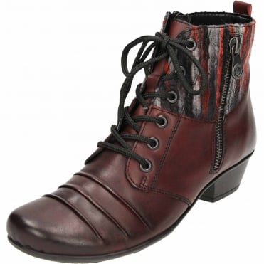 Leather Red Combination Ankle Heeled Boots Lace Up D7390