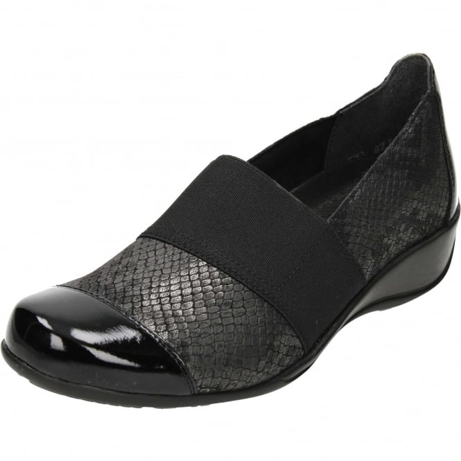 Remonte R9827-45 Flat Low Heel Trouser Shoes Black Patent