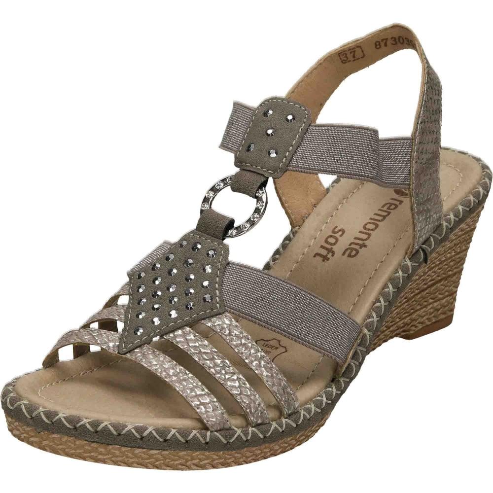 1d623a5f Remonte Slip On Elasticated Wedge Sandals D6768-65 - Ladies Footwear ...