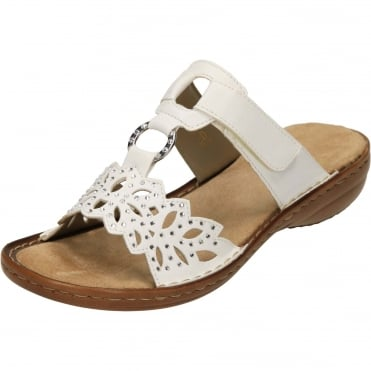 608A6-80 Hook And Loop Sandals Open Toe White