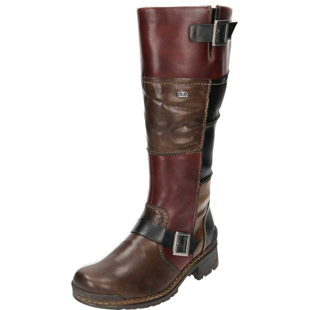 limited style multiple colors Clearance sale Rieker 74382-25 Brown Leather Knee High Flat Wool Lined Biker Boots