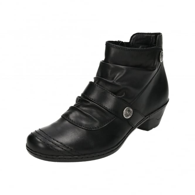 Rieker 76963-01 Black Leather Low Heel Ankle Boots