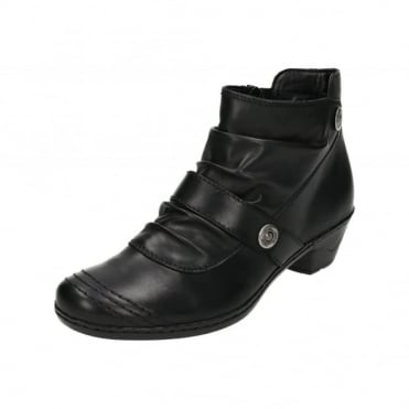 76963-01 Black Leather Low Heel Ankle Boots