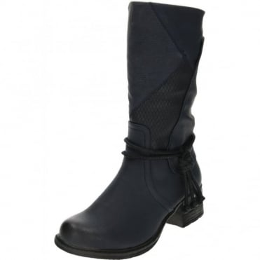 92759-14 Blue Mid Calf High Flat Warm Lined Biker Boots