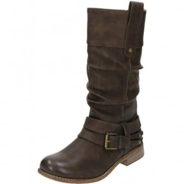 95678-25 Brown Mid Calf Flat Fur Lined Boots