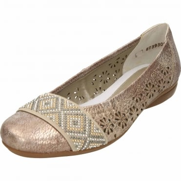 Ballet Flats Perforated Metallic Shoes L8357-31
