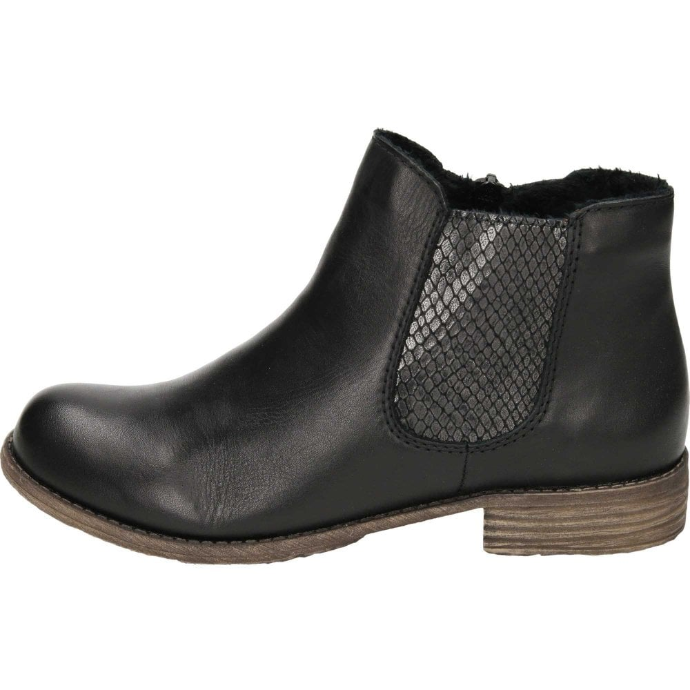 a32d32b366 Rieker Black Leather Chelsea Flat Ankle Boots 74786-00 - Ladies ...