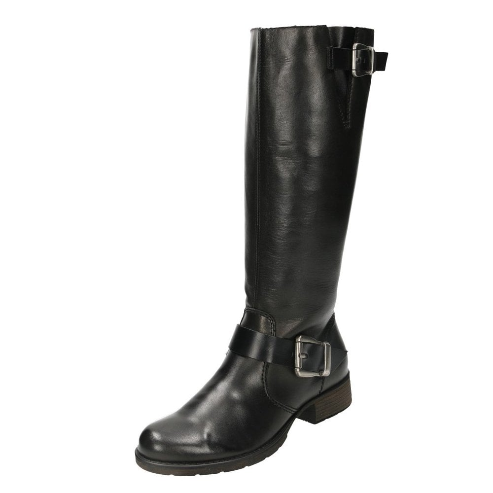cdf581505 Rieker Black Leather Knee High Flat Boots Riding Biker Z9580-00 ...