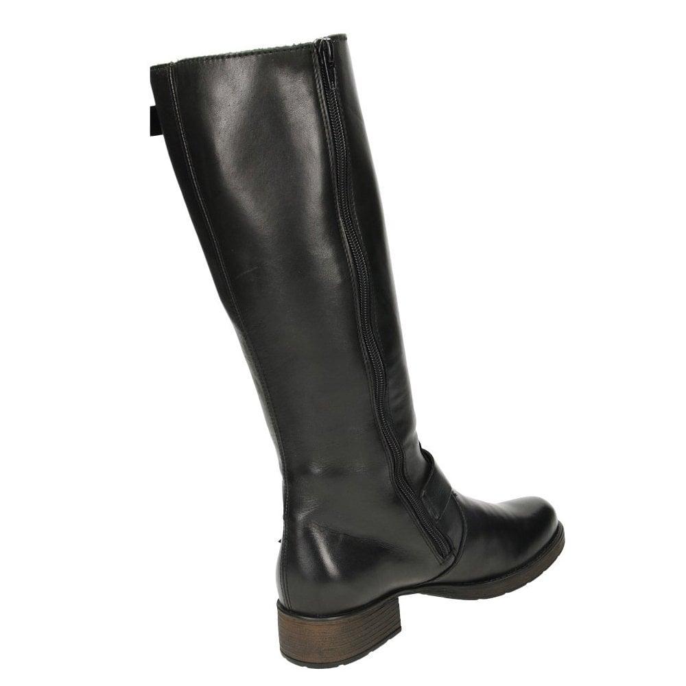 9ba5563e63b Black Leather Knee High Flat Boots Riding Biker Z9580-00