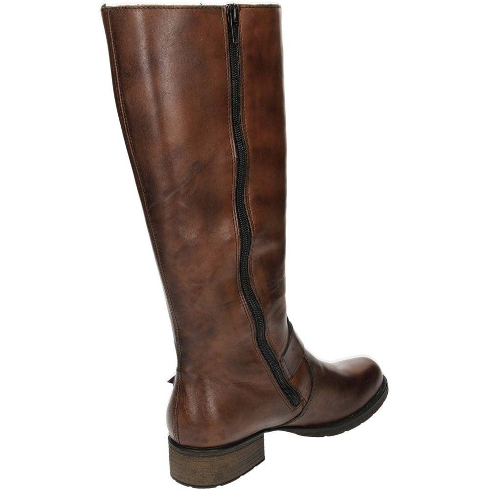 961241b8c46 Brown Leather Knee High Flat Boots Riding Biker Z9580-25