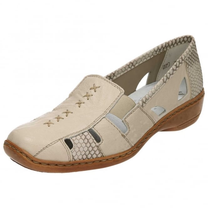 Rieker Casual Leather Flat Elasticated Shoes 41385-62 Beige