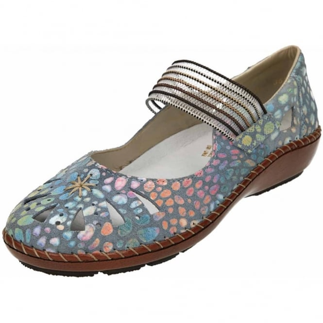 Rieker Casual Leather Mary Jane Flat Funky Shoes 44865-10