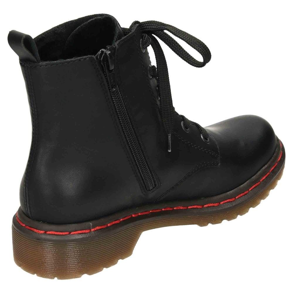 Rieker Combat Lace Up Zip Ankle Boots Y8210 00 Ladies