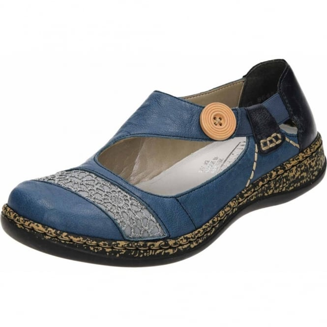 Rieker Flat Leather Loafers Dolly Shoes 46324-13 Blue