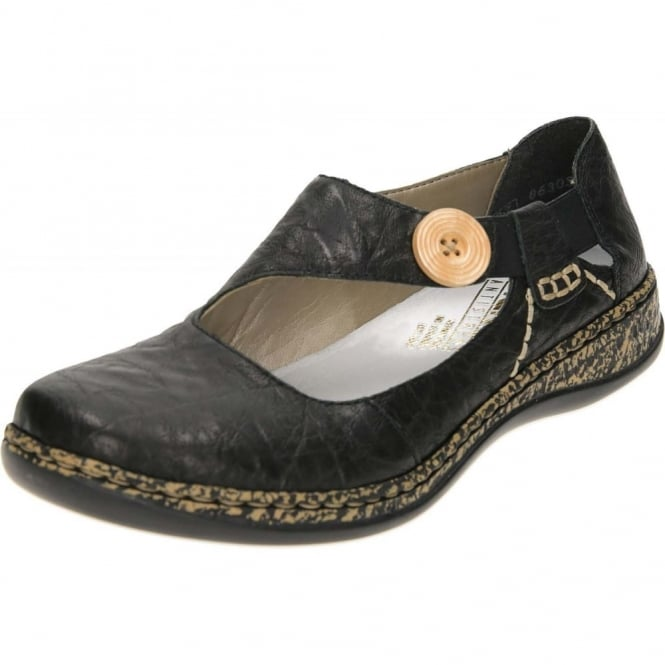 Rieker Flat Leather Loafers Dolly Shoes 46364-00 Black