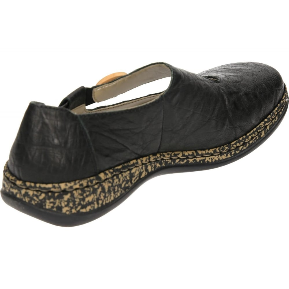58ca3ed90137f1 Rieker Flat Leather Loafers Dolly Shoes 46364-00 Black - Ladies ...