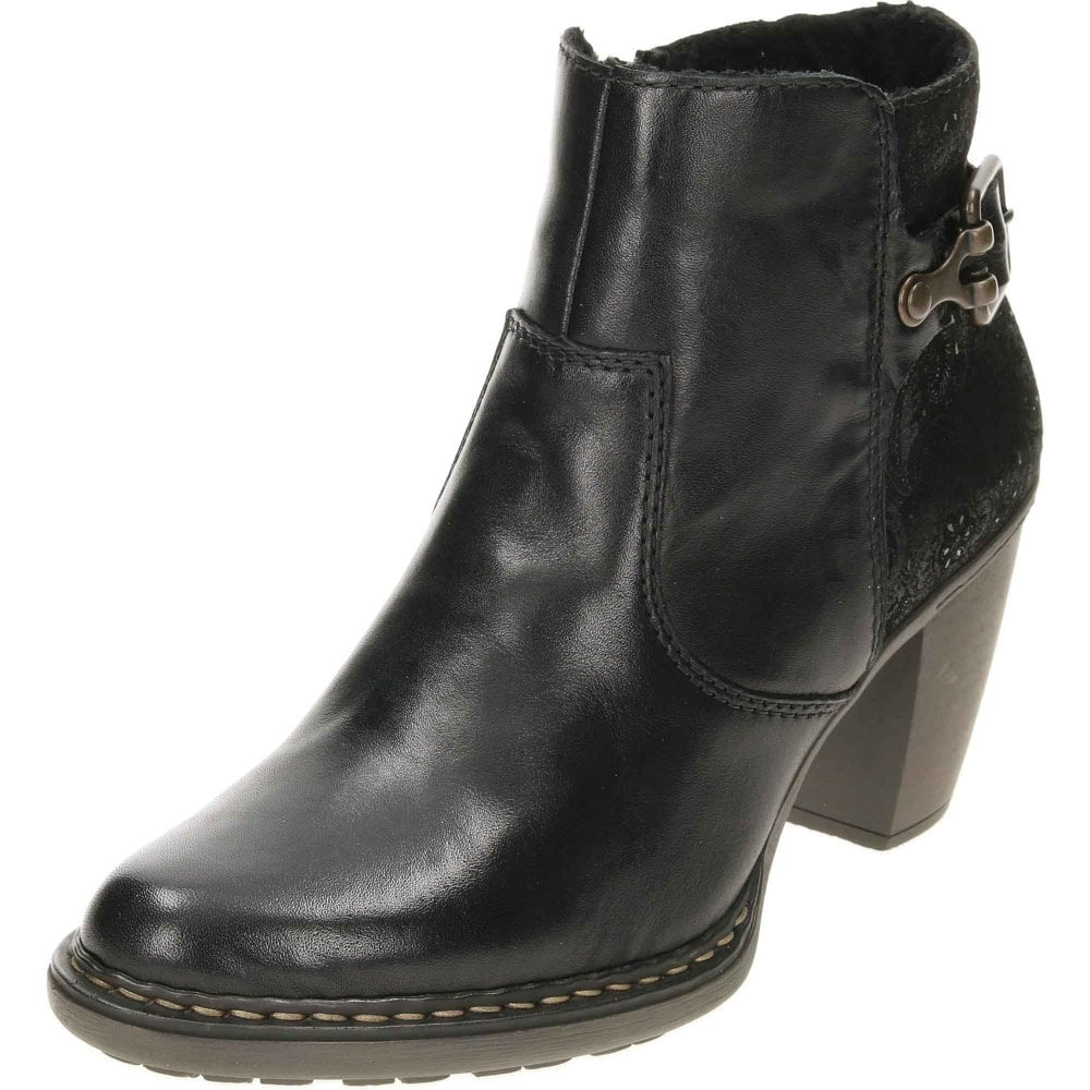 193deb9967 Rieker Heeled Leather Ankle Boots 55292-00 Black - Ladies Footwear ...