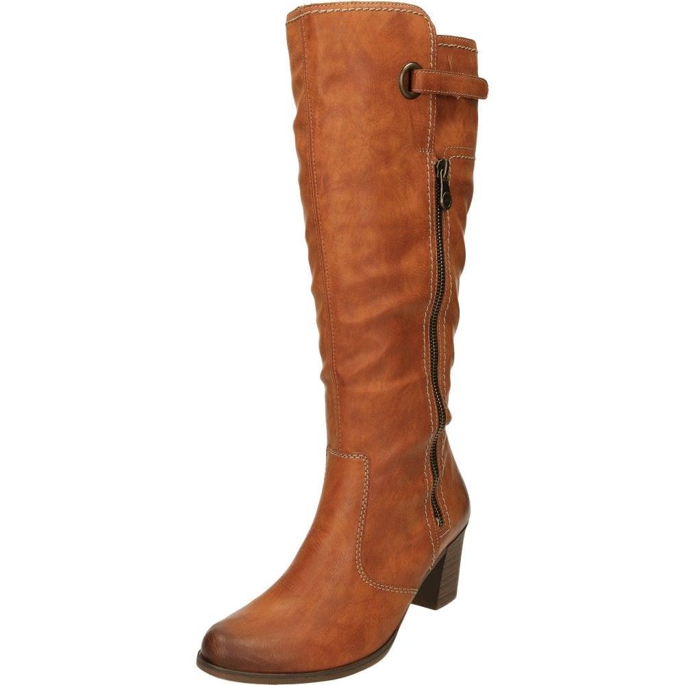 Rieker Knee High Heeled Angular Boots Y8980-24 Tan Brown Zip Fleece Cushioned
