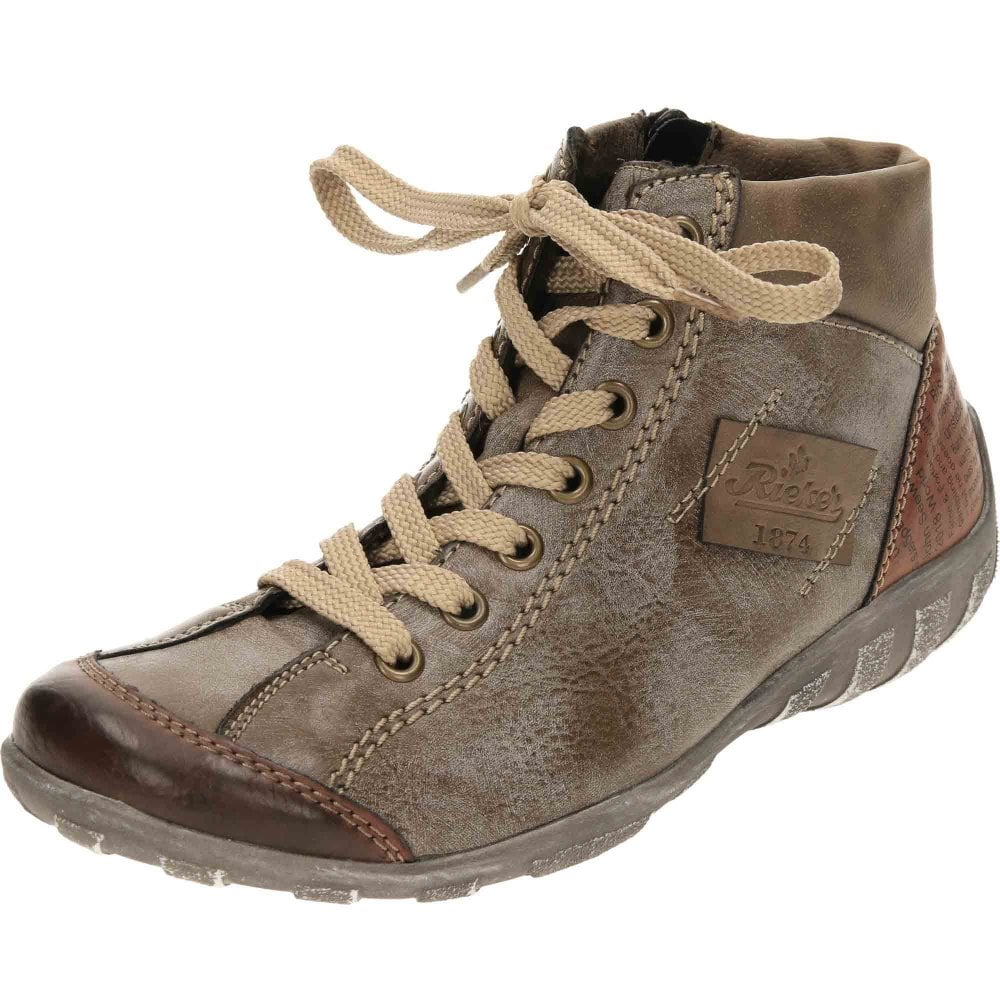 Rieker L6540 24 Lace Up Zip Flat Ankle Boots