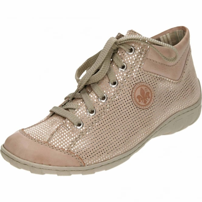 Rieker Lace Up High-Top Trainers M3738-31 Pale Pink