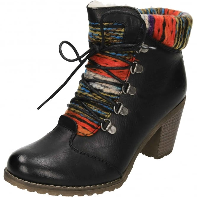 Rieker Lace Up Zip High Block Heel Wool Lined Ankle Boots 95323