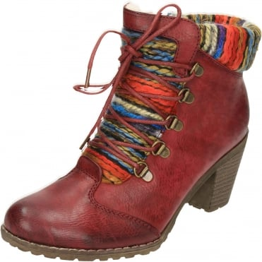 Lace Up Zip High Block Heel Wool Lined Ankle Boots 95323