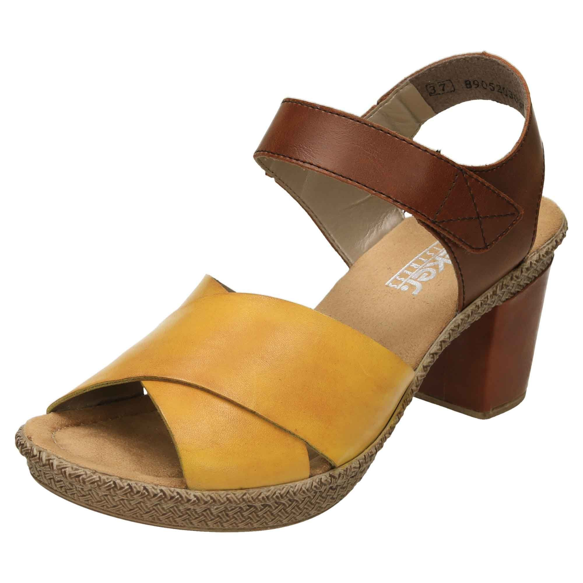 Rieker Leather Crossover Heeled Sandals 665H1 68