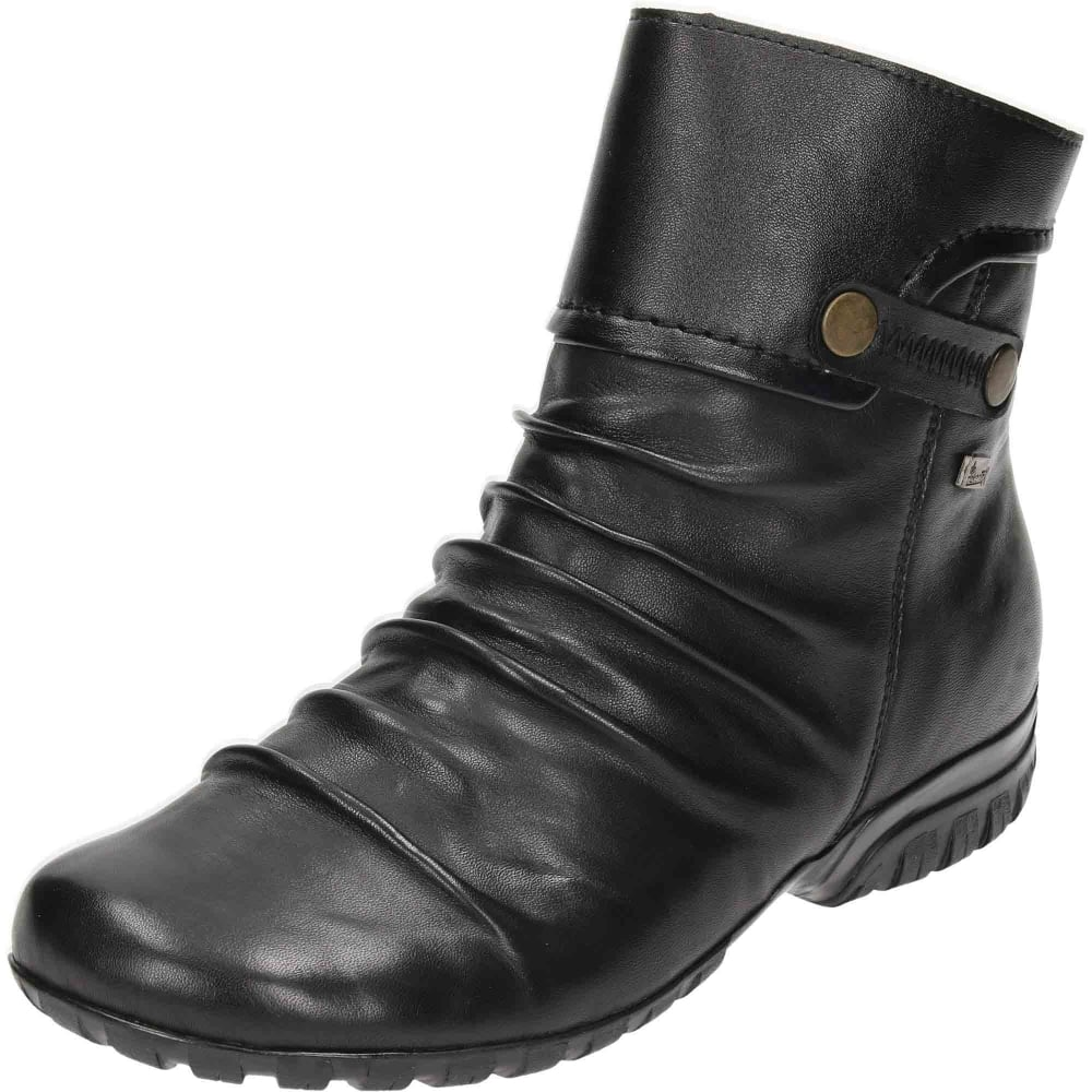 b1d1697efbed Rieker L3882-00 Black Leather Wedge Ankle Boots - Ladies Footwear ...