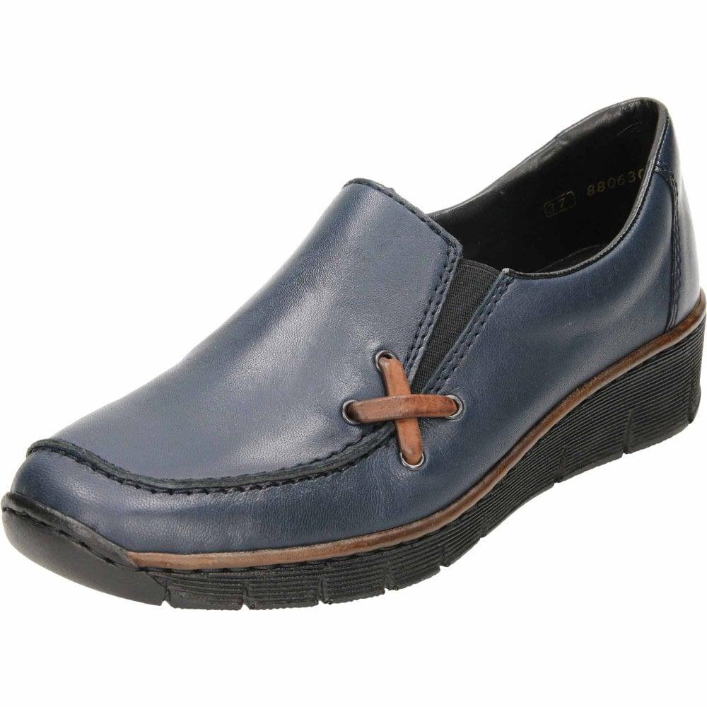 Leather Loafer Wedge Slip On Shoe 53783 14