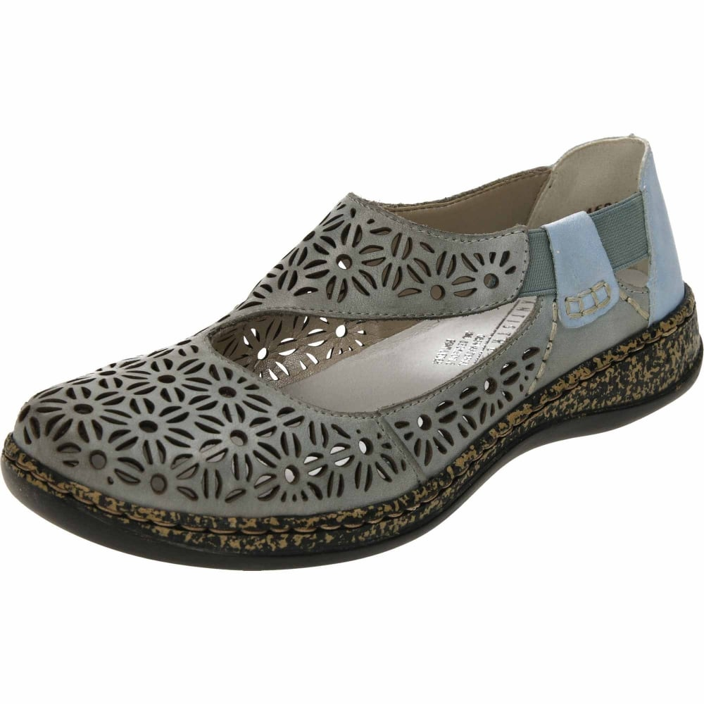 3594723d81668e Rieker Leather Loafers Dolly Flat Shoes 46375-10 - Ladies Footwear ...