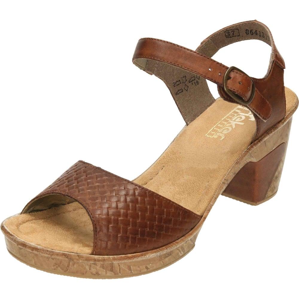27dc765c39a Rieker Leather Sling Back Open Toe Block Heel Platform Sandals Brown  69771-22 - Ladies Footwear from Jenny-Wren Footwear UK