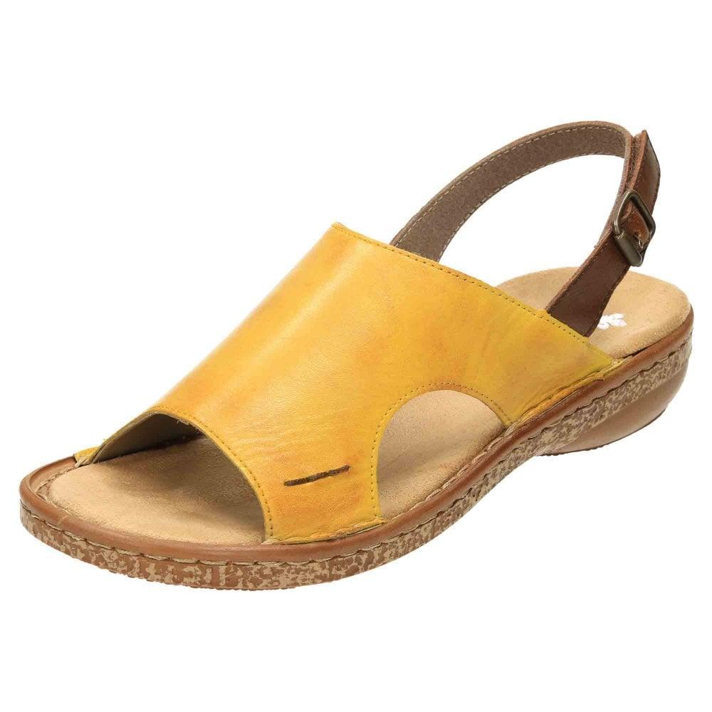 af0058604a6 Rieker Leather Slingback Flat Sandals 628C5-68 - Ladies Footwear ...