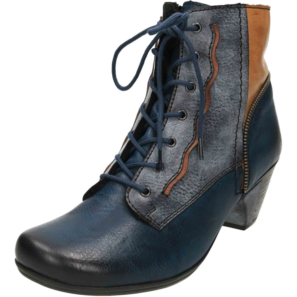Rieker Multi Coloured Warm Ankle Boots Mid Heel Lace Up Zip Y7214-15 ... 75fb1f8b32