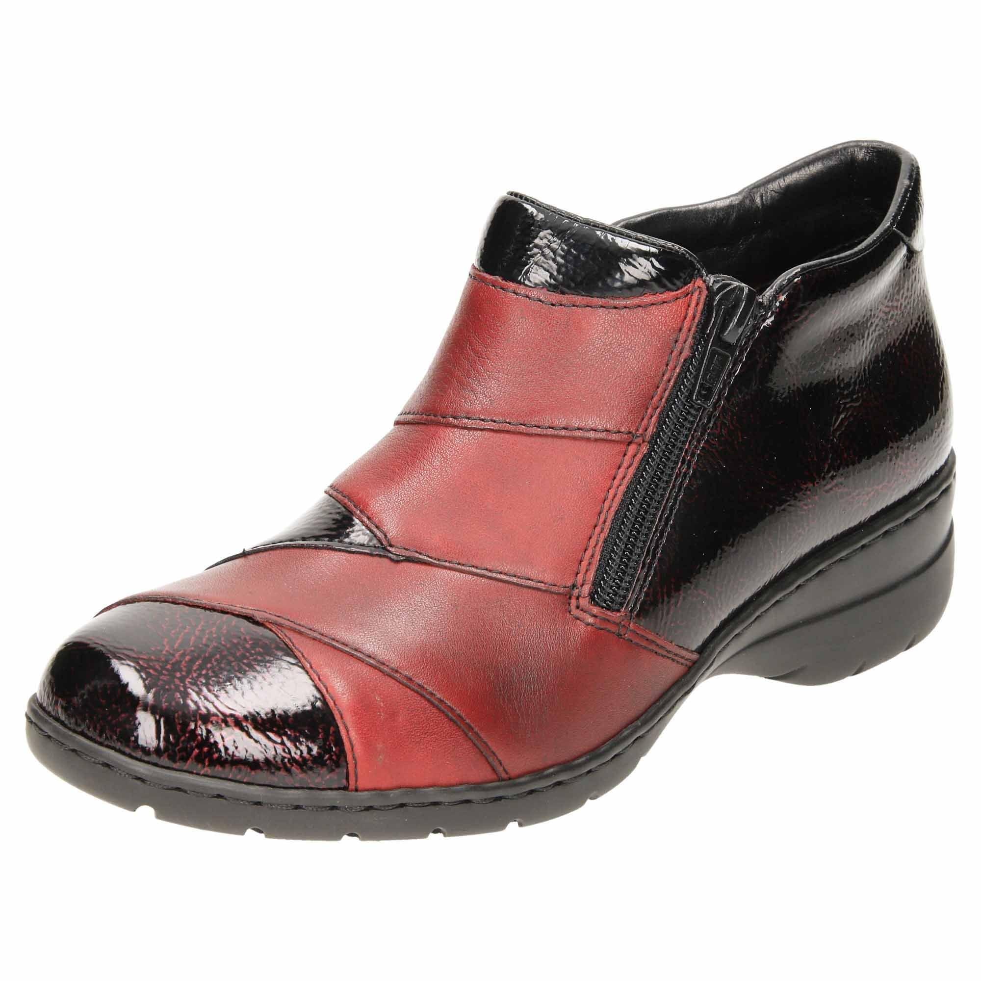 Rieker Tan Black Flat Leather Low Block Heel Ankle Boots Trouser Shoes 76961