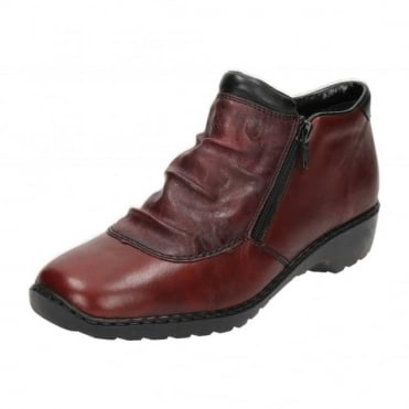 Red Leather Flat Wedge Ankle Zip Boots Trouser Shoes