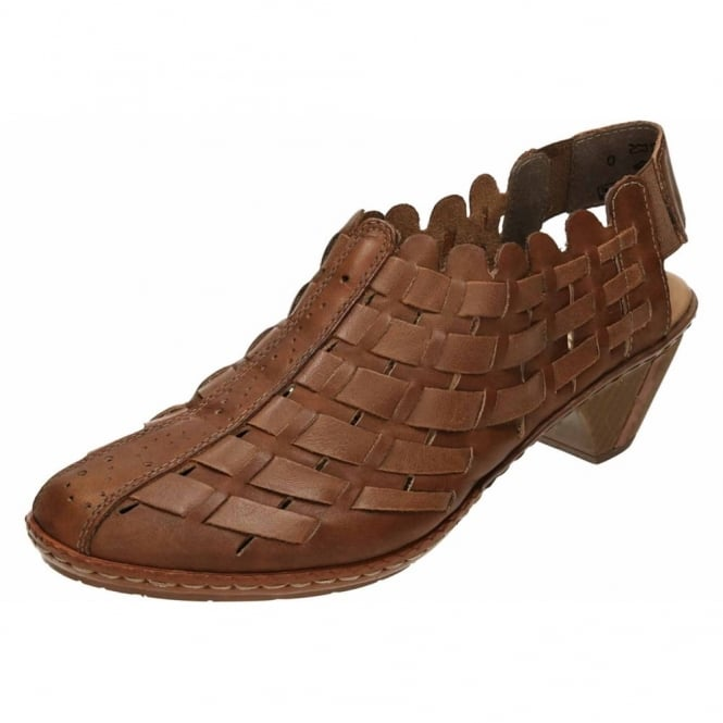 Rieker Sling Back Leather Sandals Interwoven Low Heel Shoes 46778