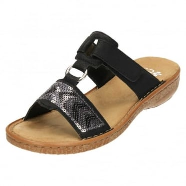 Slip On Mule Sandals Open Toe 62808-00 Black