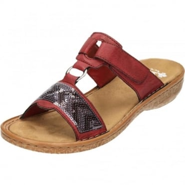 Slip On Mule Sandals Open Toe 62808-35 Red