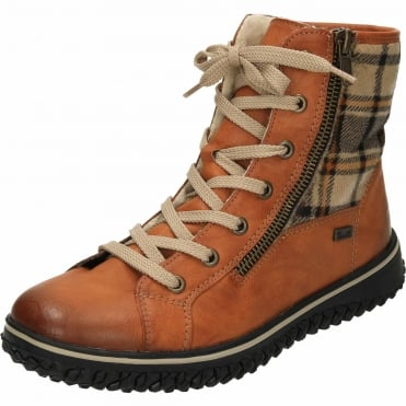 TEX Wool Lined Lace Up Shower Proof Flat Ankle Boots Z4210-24