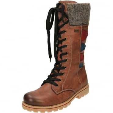 TEX Wool Lined Lace Up Shower Proof Flat Boots Z1443-24