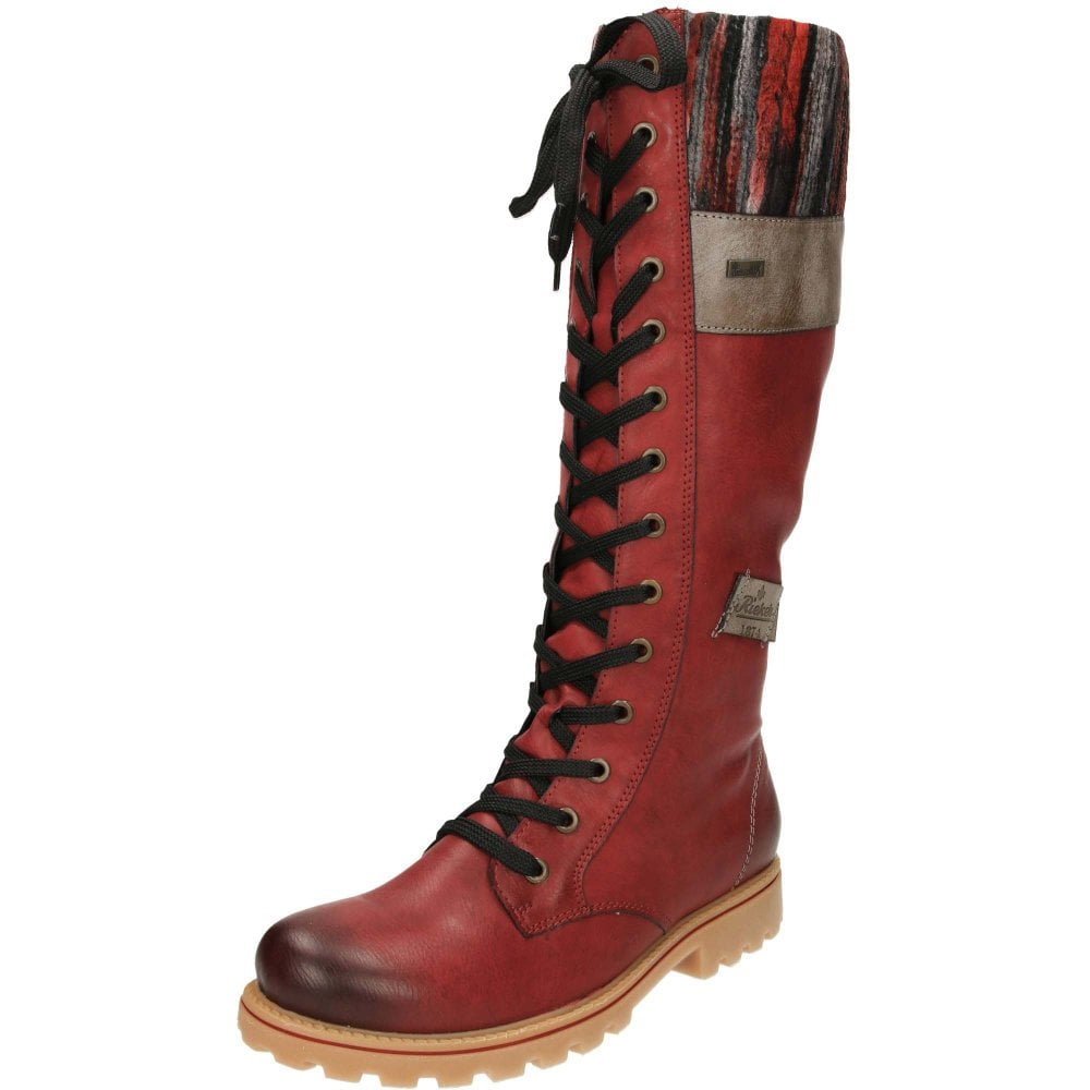 c5fa8f6a1 Rieker TEX Wool Lined Lace Up Shower Proof Flat Knee Boots Z1442-35 ...