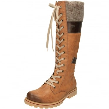 TEX Wool Lined Lace Up Shower Proof Knee High Flat Boots Z1442-24