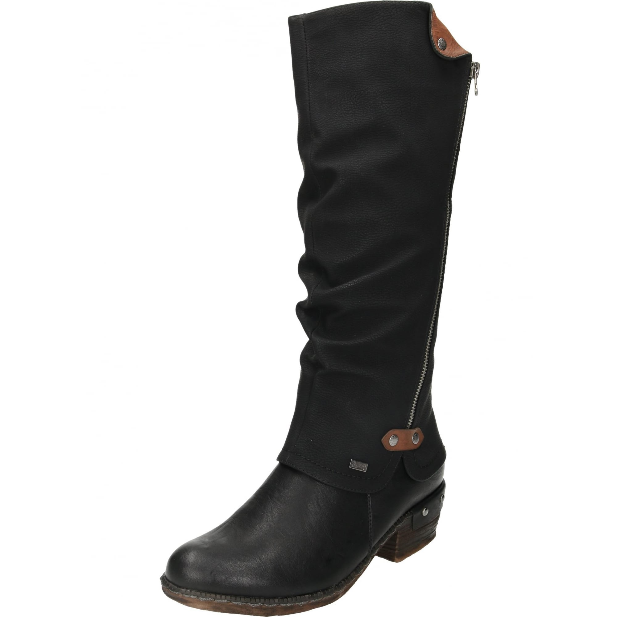 Rieker 93655-00 Tex Black Boots Shower Proof Gator Knee High Heeled Warm Lined