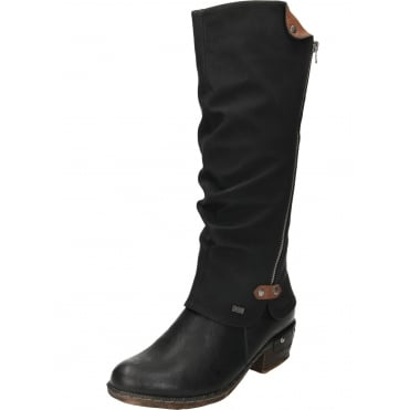 Warm Lined Knee High Shower Proof Gator Boots Black 93655-00