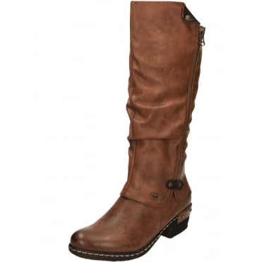 Warm Lined Knee High Shower Proof Gator Boots Brown 93655-26
